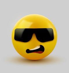 face with sunglasses emoji - emoticon with dark vector image