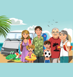 Family on beach vacation vector