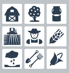 farming icons set vector image