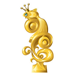 fish figurine made gold isolated on white vector image