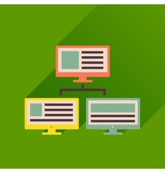 Flat icon with long shadow computer network vector