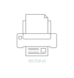 flat line computer part icon - printer vector image