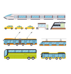 flat public city land transport and yellow taxi vector image