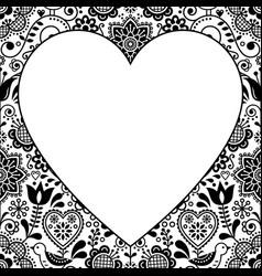 folk heart design greeting card scandinavian vector image