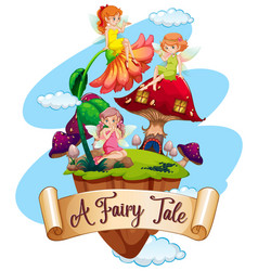 font design for word a fairy tale with many vector image