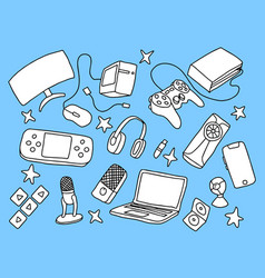 games doodle art with blue background and hand vector image