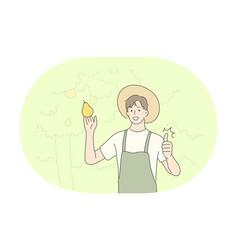 Gardening farming professional occupation vector