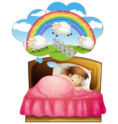 girl sleeping and counting sheeps in dream vector image