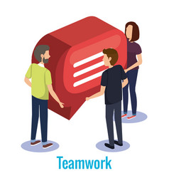 group of people teamwork with speech bubble vector image