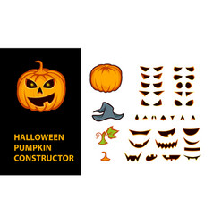 halloween pumpkins constructor with emotional vector image