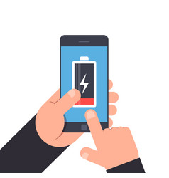 Hand holding and pointing to a smartphone low vector