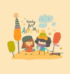 happy cute girls walking in autumn park vector image