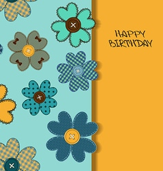 Holiday card or invitation with flower patchworks vector image