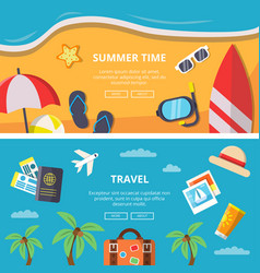 horizontal banners with summer time pictures vector image