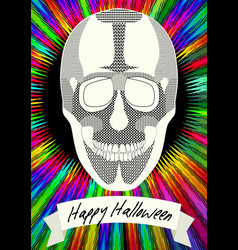 Human skull drawing on halloween flyer happy vector