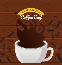 International coffee day celebration with cup vector
