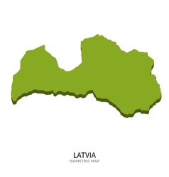 Isometric map of Latvia detailed vector image