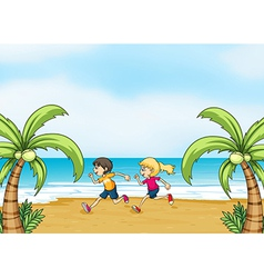 Kids jogging along seashore vector