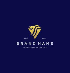 Letter t diamond gold logo design vector