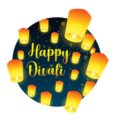 Lettering congratulation happy divali with paper vector