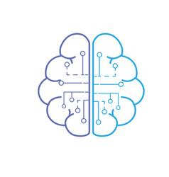 Line anatomy brain with circuits digital vector