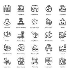 logistic delivery icons set 6 vector image