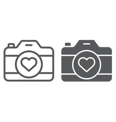 love camera line and glyph icon photography and vector image