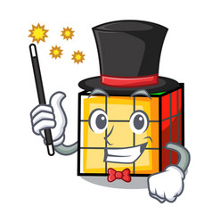 Magician rubik cube mascot cartoon vector