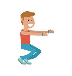 Man doing squats cartoon vector