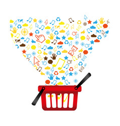 market basket with technological icon vector image
