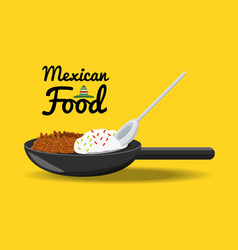 Mexican traditional food chili with meat vector