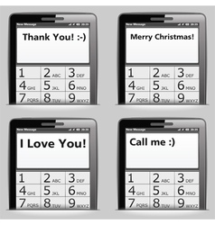 Mobile phone with messages on the screen vector