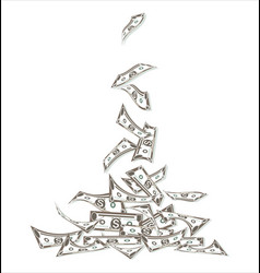 money flow dollars falling to stack vector image