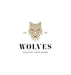 monoline wild wolf logo vector image