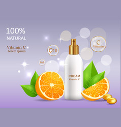 natural cream with vitamin c in glossy tube vector image