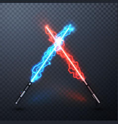 Neon electric light swords crossed light sabers vector