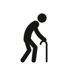 old man with a cane simple black silhouette icon vector image