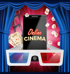 Online cinema banner realistic smart phone vector