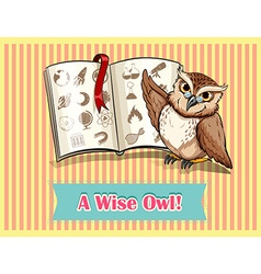 Owl reading science book vector image
