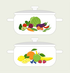 Pan design template casserole with vegetables and vector