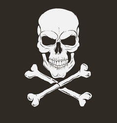 Pirate logo with skull and bones vector