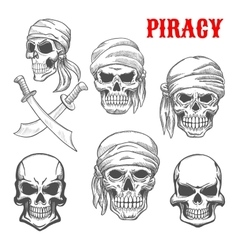 Pirate skulls and crossbones sketch icons vector image