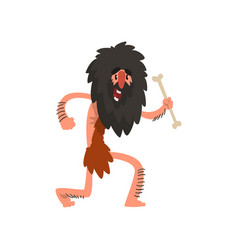 primitive long haired caveman running with bone vector image