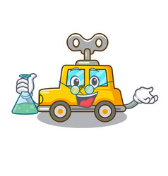 Professor cartoon clockwork toy car in table vector