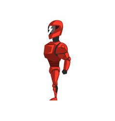 Red robot spacesuit superhero cyborg costume vector