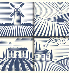 Retro landscapes farm house vector