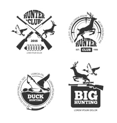 Retro vintage hunting labels emblems vector