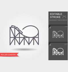 Roller coaster line icon with editable stroke vector