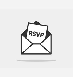 rsvp icon please respond letter in envelop vector image