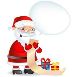 Santa Claus checking his list vector